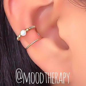 Opal Fake Double Cartilage Ear Cuff Earring